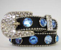 Black Dog Collar W/Blue Rhinestones