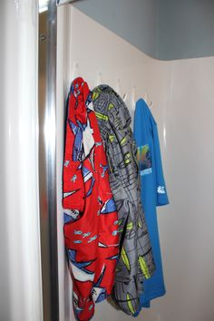 No more soggy swim suits lying all over the place!  Swim suits hanging and drying in the shower.  Kid doable!!
