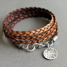 Wrap Bracelet Brown Leather Thin Flat Braid Sterling Silver Charm | LynnToddDesigns - Jewelry on ArtFire