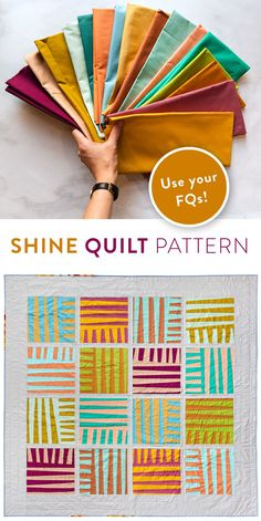 Grab your favorite fat quarters for this fresh and modern improv quilt pattern from Suzyquilts.com!  This easy, beginner friendly pattern includes a private video tutorial and instructions for ALL the sizes from King down to a pillow! #fatquarterquilt #improvquilting #quiltpattern Quilting Tutorials, Quilting Projects, Quilting Designs, Sewing Projects, Quilt Design, Quilting Ideas, Star Quilt Patterns, Modern Quilt Patterns, Fat Quarter Quilt Patterns