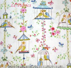 Dena Designs Leanika Lovebirds and Butterflies Ivory - Click Image to Close