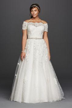 Jewel Scalloped Sleeve Plus Size Wedding Dress  - 33 Trendiest A Line Wedding Dresses - EverAfterGuide