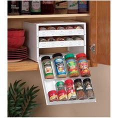 Youcopia Super SpiceStack - The Youcopia Super SpiceStack spice organizer helps maintain an organized kitchen by cleverly storing your own spices in the cabinet. The white organizer can store 27 large or 54 small bottles. Office Desk Organization, Spice Organization, Organization Skills, Organization Station, Spice Rack Organiser, Spice Storage, Spice Shelf, Spice Drawer, Tape Storage