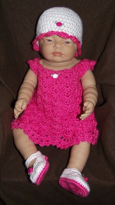 Baby Girl Crochet Dress Set  Hat Dress by TJsCrochetCreations
