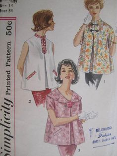 See Sally Sew-Patterns For Less - Blouse Vintage Maternity Tops Simplicity 3344 Pattern Sz. 14, $9.99 (http://stores.seesallysew.com/blouse-vintage-maternity-tops-simplicity-3344-pattern-sz-14/)