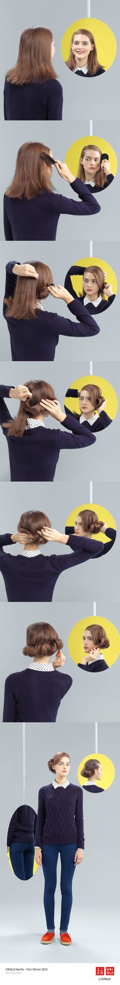 """""""THE KRISTY ROLL"""" : Dress down this Rocka-Billy inspired hair style with our ultra stretch jeans and a sweater. Click the image for DIY instructions!"""