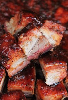 BBQ Smoked Pork Belly is my favorite meat in barbecue. All of the luscious smoky flavor of good slow barbecued pork and dripping with finger lickin' juices. Bbq Meat, Bbq Pork, Barbecue, Bbq Grill, Traeger Recipes, Grilling Recipes, Venison Recipes, Sausage Recipes, Meat Recipes