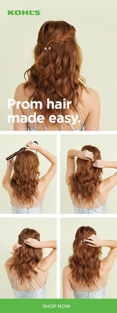 Get the perfect prom hairstyle with Kohl's. Looking for something romantic for the big night? Try the NuMu Lustrum curling wand set. With multiple barrels, it makes it easy to get all kinds of waves and curls. Once you have the texture you want, twist you Box Braids Hairstyles, Down Hairstyles, Wedding Hairstyles, Easy Prom Hairstyles, Prom Hairstyles For Medium Hair, Prom Hair Medium, Graduation Hairstyles, Gorgeous Hairstyles, Updo Hairstyle