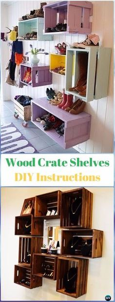 DIY Wood Crate Shelves Instructions - DIY Wood Crate Furniture Ideas Projects