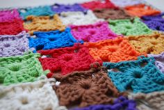 love these little color crocheted squares