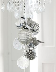 white and silver on crystal chandelier