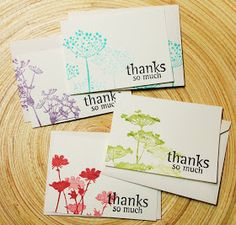 Love these simple thank you cards. Stamps are by Unity Stamp Company-Insightful Meadows. This image created by Eryn Hannig. Quick Cards, Cool Cards, Unity Stamps, Scrapbook Cards, Scrapbooking, Card Tags, Flower Cards, Homemade Cards, Stampin Up Cards