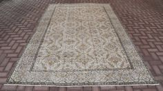 Vintage Turkish Oushak Rug Floral Patterned Antique Hand Knotted Ushak Rug Unique Pastel Cream Almond Color Large Area Rug 121 x76 inches