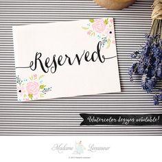Reserved sign wedding signs design floral by MadameLevasseur