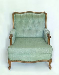 Light Green French Provincial Armchair $45