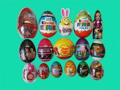 76 Surprise Eggs Kinder Surprise Maxi  Spiderman Marvel Masha Batman Pep...