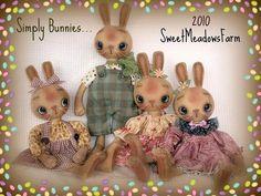 Primitive Pattern Simply Bunnies Round Head Boy and Girl Rabbit Dolls | eBay