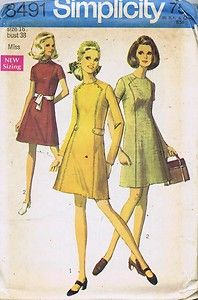 Vintage 1 PC Dress Sewing Pattern 60s Simplicity 8491 Sz 16 Bust 38 Hip 40 Uncut | eBay