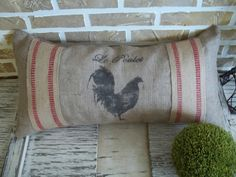 French++Rooster++Burlap+Pillow+by+SimplyFrenchMarket+on+Etsy,+$30.00