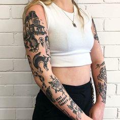 Trendy Tattoos, Unique Tattoos, Black Tattoos, Tattoos For Women, Tattoo Girls, Girl Tattoos, Tatoos, Best Sleeve Tattoos, Body Art Tattoos