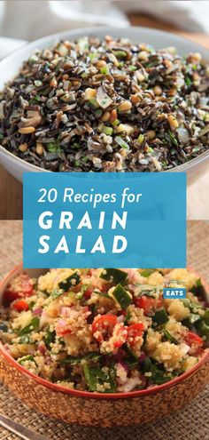 A lot of grain and rice salads requires just one round of cooking, yet can last for days in the refrigerator. Wheat Berry Salad, Grain Salad, Watercress Salad, Couscous Salad, Pork Menu, Pinto Beans And Rice, Pickled Apples, Wild Rice Salad, Vegetarian Recipes