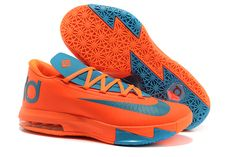 "Men Size Total Orange and ""Neo Turquoise"" Nike Shoes KD 6 - ""Kevin Durant"" Custom For Men"