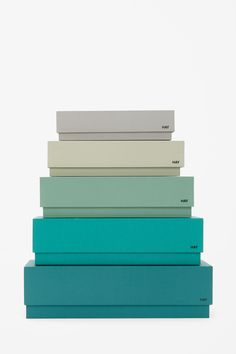 """HAY Box Box Desktop set of this or something like it, stacked to form a Xmas tree and fill with """"gifts"""" for guests staying over Colour Schemes, Color Combos, Packaging Design, Branding Design, Logo Branding, Color Stories, Color Pallets, Pantone Color, Color Theory"""