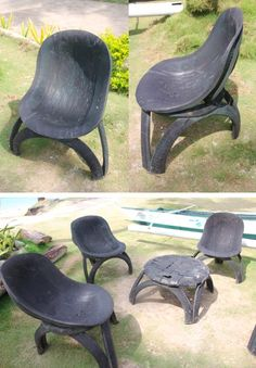natural modern interiors: Recycled Car Tyre Seats & Tables :: Philippines