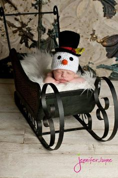 Snowman Hat with Top Hat.  Newborn thru 6 months available.  Excellent Christmas Photo Prop