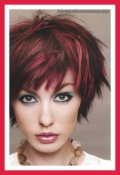 long pixie shag, not so much the color, but like shape and look of cut itself! Be pretty with chestnut hair and caramel highlights! Mmmm!