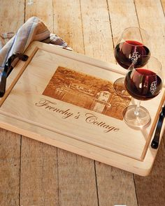 Charm your wife, mother, or host with this gorgeous Personalized Serving Board. Crafted of premium hard maple and enhanced with a personal image such as a family portrait, homestead, or favorite pet, this board makes a wonderful serving tray or keepsake display. Simply submit a picture to be etched onto the board; also includes one line of text.