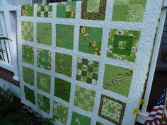 A more modern-style sampler.  The blocks are all different but very green.  :)  White borders. This is like a brighter/lighter earthy tone quilt.