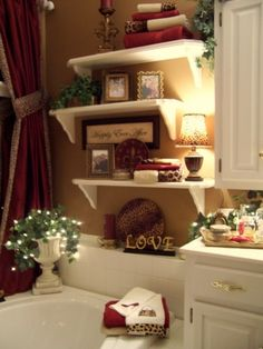 I love the alternating shelves with the small lamp. Over the tub! @ House Remodel Ideas