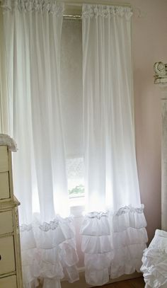 Ruffled Curtain Panel-Ruffled curtain panels, shabby chic style curtains, white ruffles, vintage rose collection