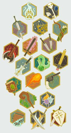 I'm planning a Kickstarter for some of these enamel pin designs and I'm going to need to cut some of the designs unfortunately. Board Game Design, Game Ui Design, Magic Symbols, Game Icon, Fantasy Weapons, Ui Inspiration, Dungeons And Dragons, Pixel Art, Game Art