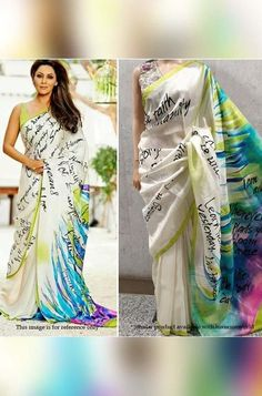 Off white Hand Painted Desi... Kanjivaram Sarees Silk, Hand Painted Sarees, White Saree, Celebrity Look, Beautiful Saree, Occasion Wear, Off White, Pure Products, Outfits