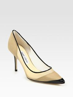 Jimmy Choo  Begonia Mesh and Patent Leather Point Toe Pumps - Click the image link to view the spinning shoe!