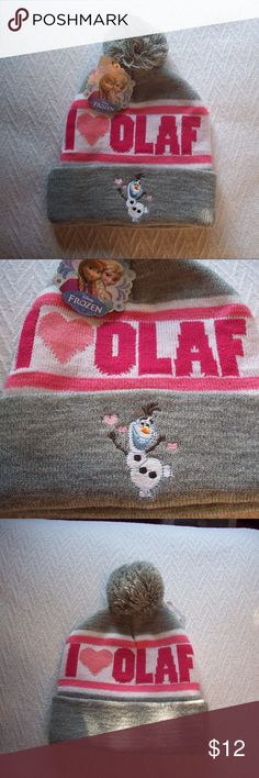 Olaf Pom Pom Beanie Get ready for cooler weather in the parks. Cute adult size beanie with Olaf dancing across the front. Gray pom pom tops it off. Disney Accessories Hats