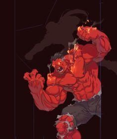 Hero Mashup by AlexRedfish on DeviantArt Marvel Comic Books, Comic Book Characters, Marvel Characters, Marvel Dc, Beginner Sketches, Hulk Art, Red Hulk, Hulk Smash, Cartoon Sketches