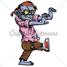 Zombie Cartoon Characters | Cartoon Zombie Nerd With Glasses · GL Stock Images