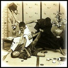 BOYS WILL BE BOYS -- Future Samurai Getting in Some Practice  From a Sample Set of Classic Meiji and Taisho-era Japan Stereoview and Lantern-Slide images by Japanese Photographer T. ENAMI (1859-1929).