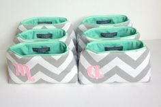 Set of Six Blush Pink Mint & Grey Monogram Cosmetic Bags: Bridal Gift Favor, Chevron and Pale Light Pink, Custom Bridesmaids Wedding Party