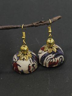 Join the bandwagon of Fabric Jewellery for Kalamkari is a traditional handblock printing technique. Silk Thread Earrings, Fabric Earrings, Thread Bangles, Fashion Jewelry Stores, Fashion Jewellery, Jewellery Sale, Textile Jewelry, Fabric Jewelry, Kalamkari Fabric