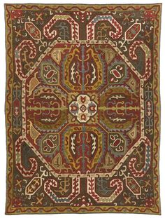 An Azerbaijan silk embroidery, South Caucasus   worked in satin stitch and running stitch approximately 4ft. by 3ft. (1.22 by 0.91m.) early 18th century