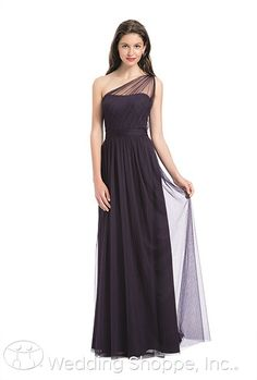 Bill Levkoff 1168: A long one-shoulder soft English tulle bridesmaid dress.
