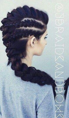 Cute oversized braided Mohawk hairstyle jbraidsandbows Click the image for more info Braided Mohawk Hairstyles, Up Hairstyles, Pretty Hairstyles, Mohawk Braid, Viking Hairstyles, Famous Hairstyles, Braids Cornrows, Fishtail Braids, Braided Updo