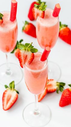 Save this drink recipe to sip on Strawberry And Rhubarb Bellinis during the Oscars.