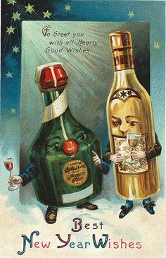 Vintage New Year Postcard. Some vintage holiday art framed along with photos on the built-ins would be a nice touch.