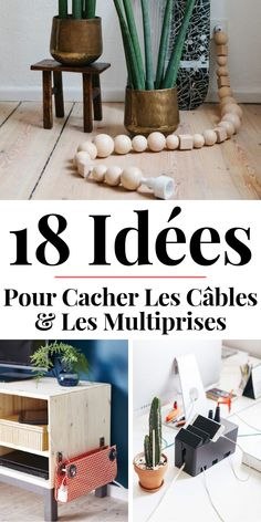 18 idées pour ranger et cacher les câbles Hide, hide and organize cables, power strips and wires with these ideas, tips and tricks. Diy Wall Art, Diy Art, Diy Recycling, Hide Cables, Farmhouse Side Table, Farmhouse Decor, Creative Walls, Easy Projects, Wood Projects