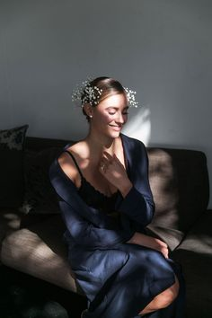 Luna Long Bridal Robe in Navy Bridal Robes, Campaign, Pockets, Tie, Navy, Phone, Natural, Model, How To Wear